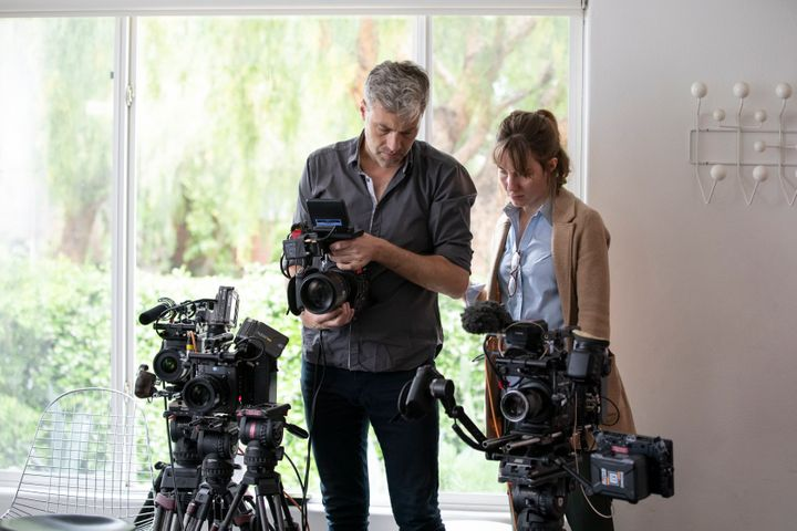 "Cinematographer Thorsten Thielow and director Elizabeth Wolff working on ""I'll Be Gone In The Dark."""