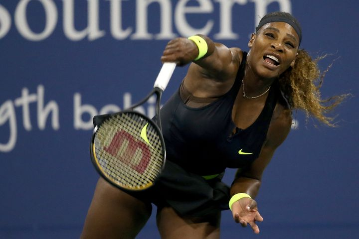 Williams serves to Maria Sakkari of Greece during the Western & Southern Open on Aug. 25 in the Queens borough of New Yor
