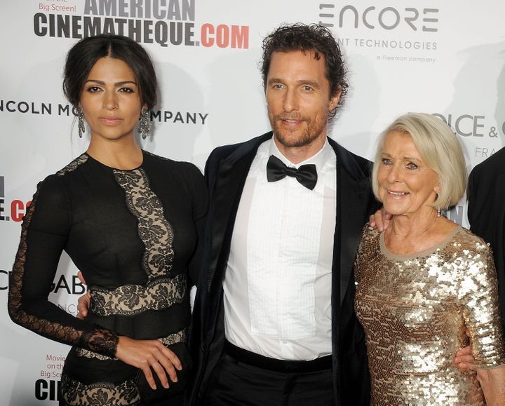 Matthew McConaughey with his wife Camila Alves and mother Kay McConaughey in 2014.