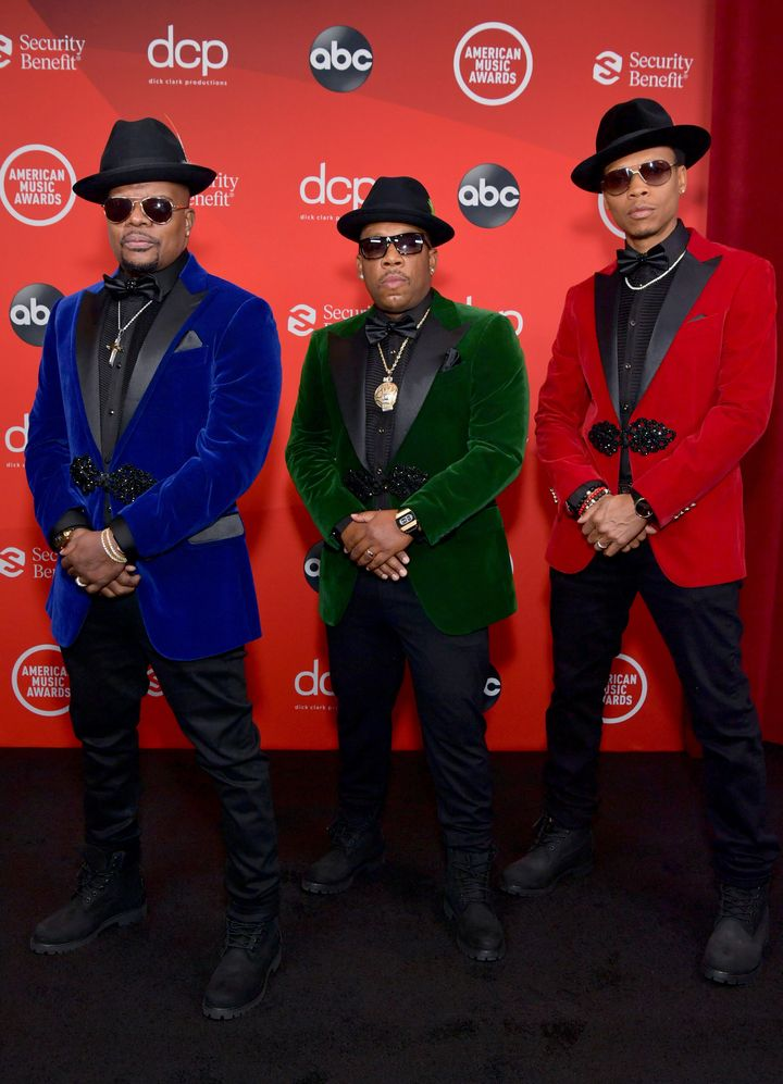 Ricky Bell, Michael Bivins and Ronnie DeVoe of the R&B group Bell Biv DeVoe attend the 2020 American Music Awards at the