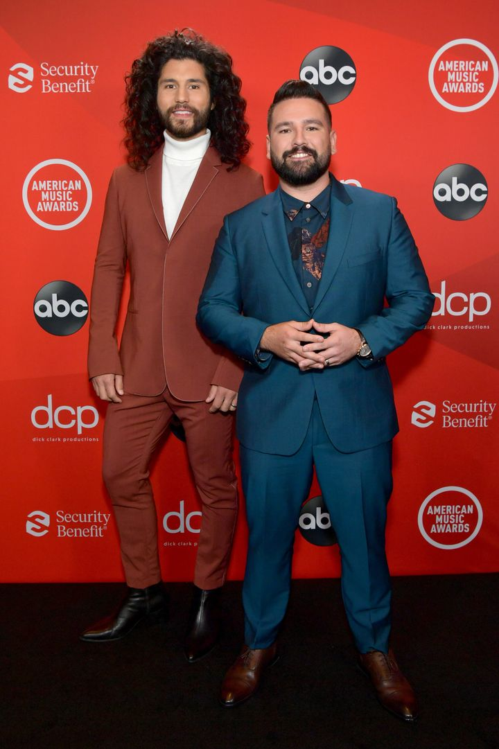 Dan Smyers and Shay Mooney of the country duo Dan + Shay attend the 2020 American Music Awards at the Microsoft Theater on Su