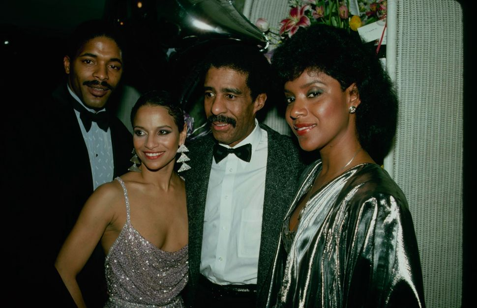 "Norm Nixon, Allen, Richard Pryor and Phylicia Rashad after the opening-night performance of Broadway's ""Sweet Charity"" on Apr"