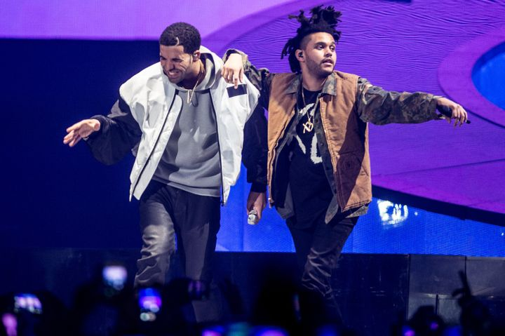 """Drake and The Weeknd perform onstage during Drake's """"Nothing Was the Same"""" world tour on March 16, 2014."""