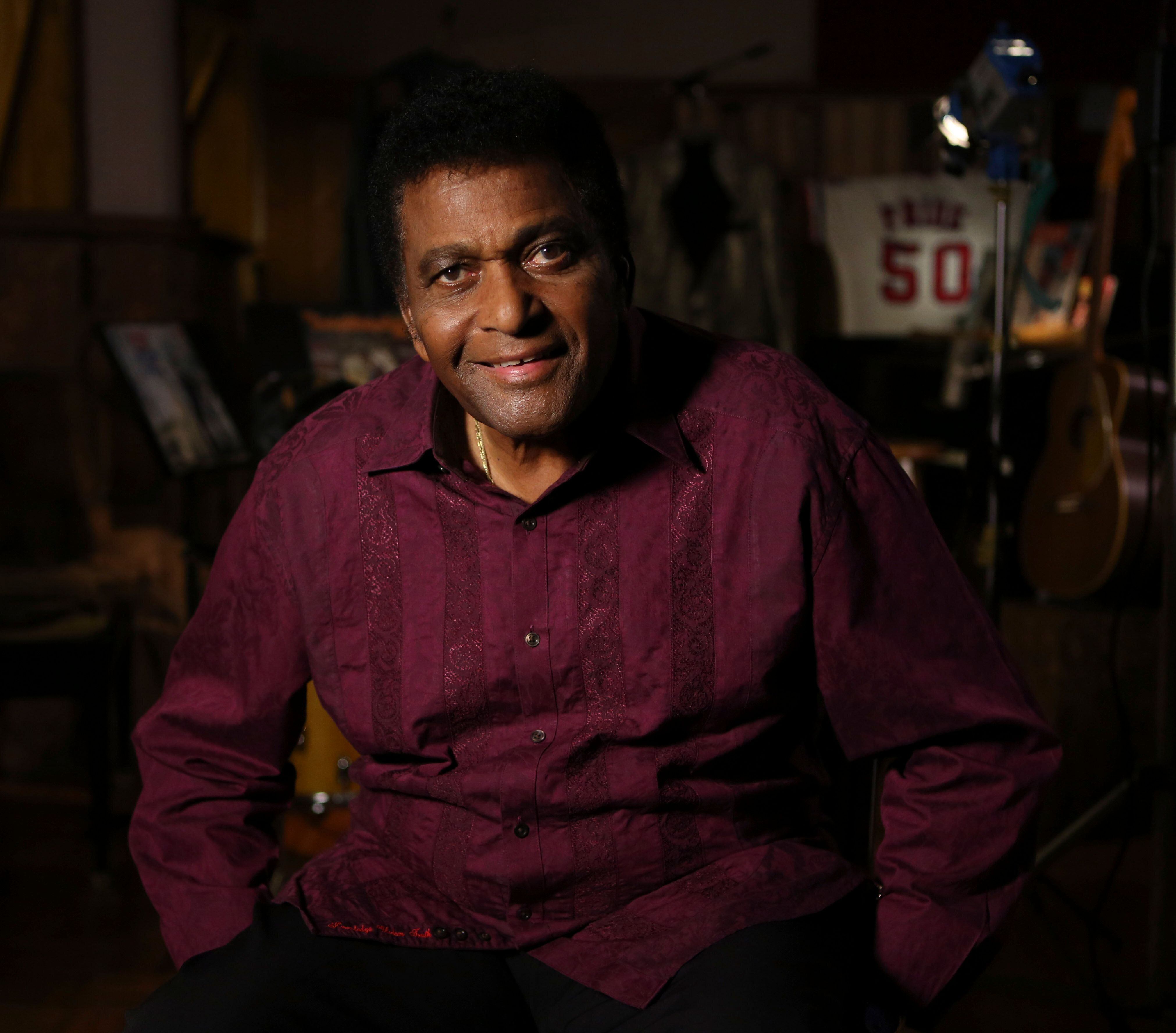 Country music legend Charley Pride smiles for a portrait at his recording studio in Dallas, Texas, Monday, Sept. 24, 2012.&nb