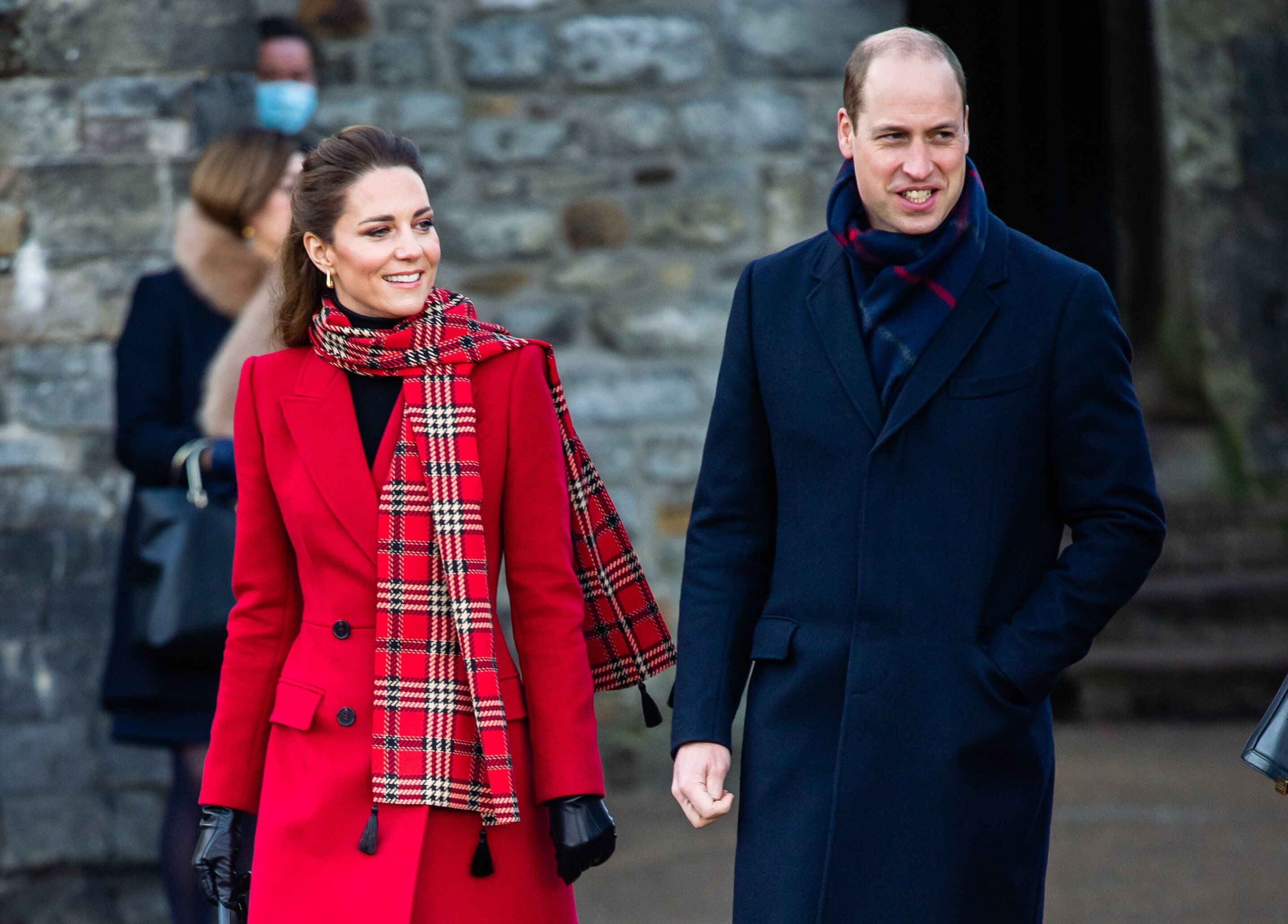 The Duke and Duchess of Cambridge pictured visiting Cardiff Castle on Dec. 9 as part of their three-day royal train tour of t