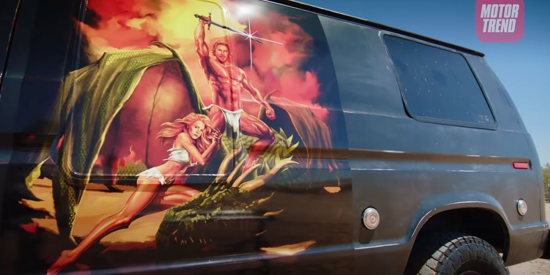 "Dax Shepard's van mural on ""Top Gear America."""