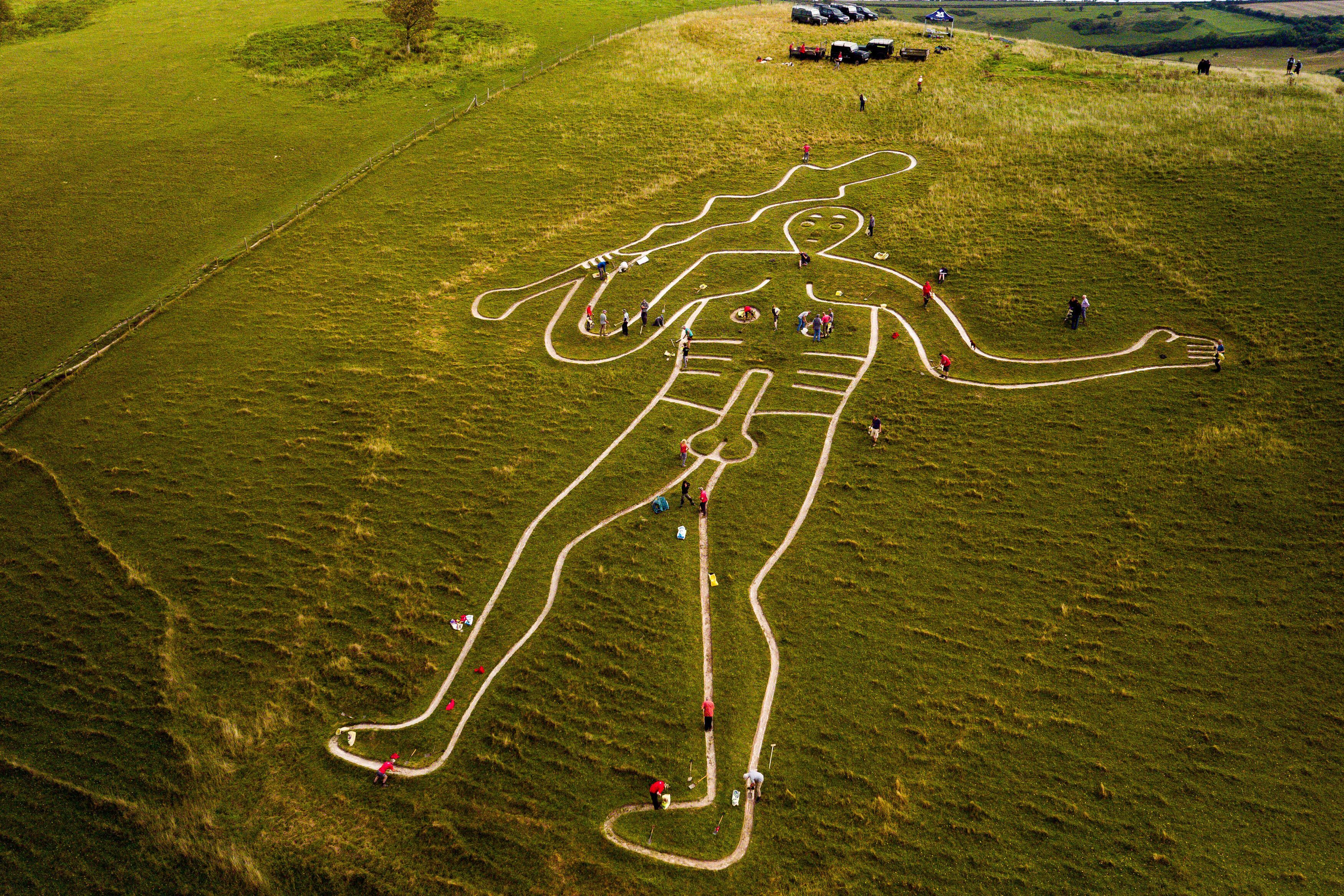 Volunteers work to repair and refresh the ancient Cerne Abbas Giant in Dorset, England.