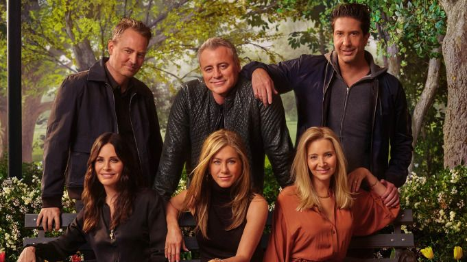 """The cast of """"Friends"""" in a promo shot for the reunion"""