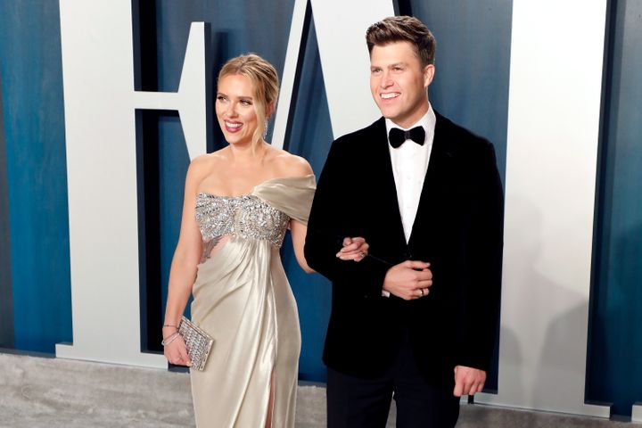Scarlett Johansson and Colin Jost attend the Vanity Fair Oscar party on Feb. 9, 2020, in Beverly Hills.