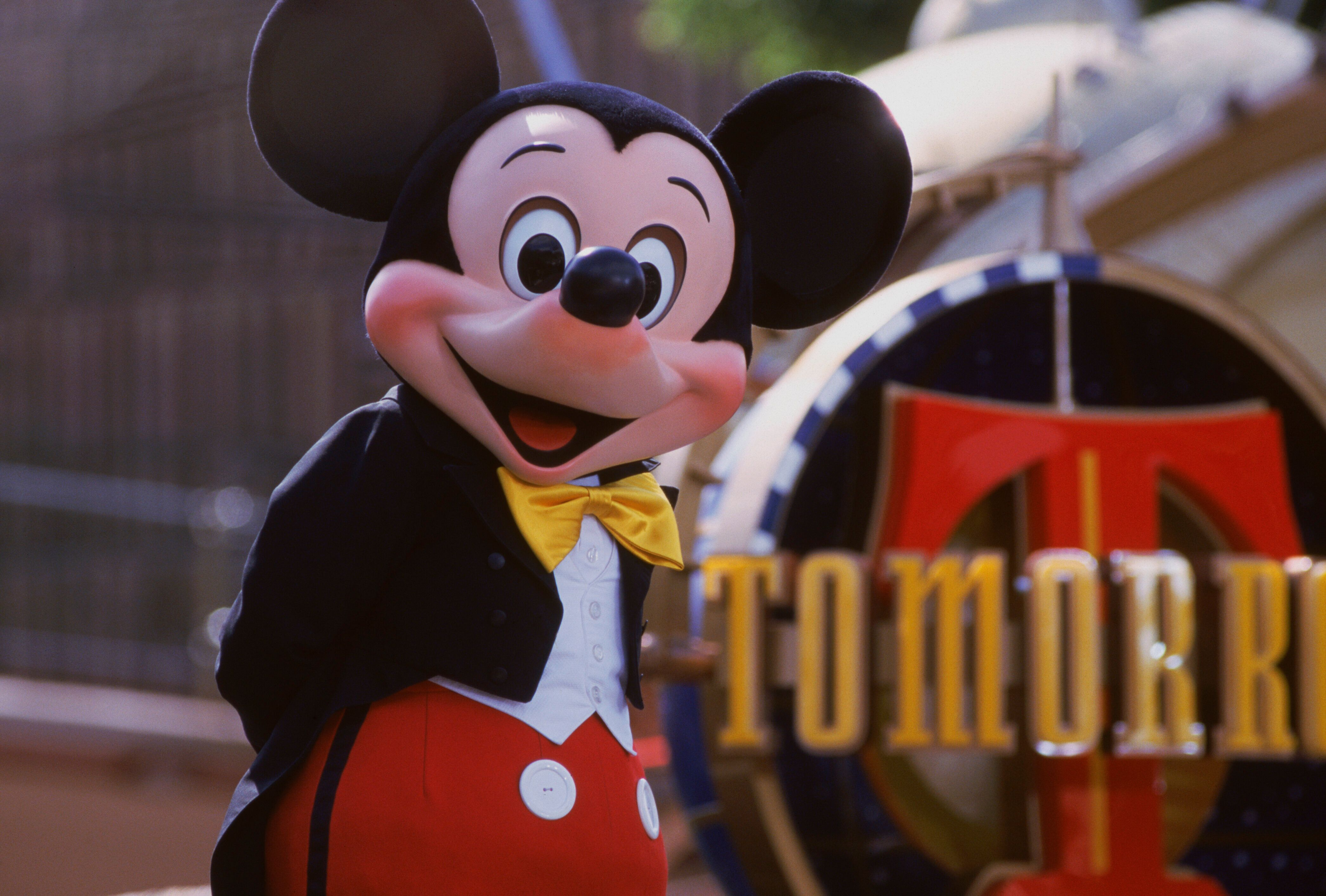 A non-robot Mickey Mouse (just a person in a costume) at Disneyland.