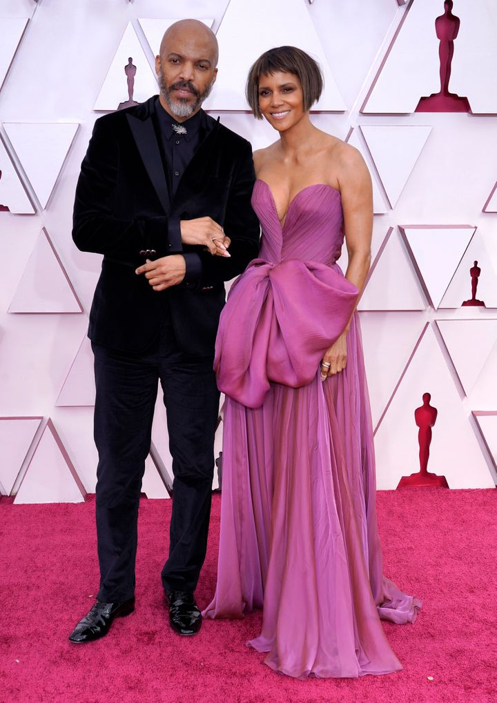 Van Hunt and Halle Berry at the 93rd Annual Academy Awards on April 25, 2021, in Los Angeles.