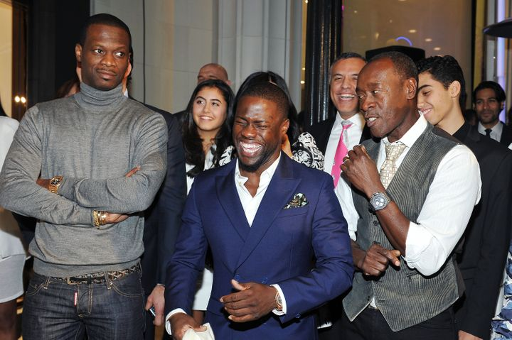 Kevin Hart (center) and Don Cheadle (right) pictured at the opening of the Audemars Piguet Boutique on Rodeo Drive in Beverly