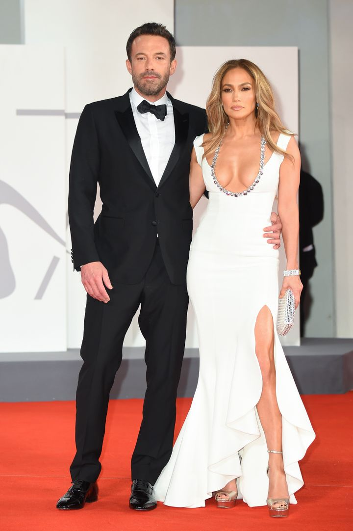 """VENICE, ITALY - SEPTEMBER 10: Ben Affleck and Jennifer Lopez attend the red carpet of the movie """"The Last Duel"""" during the 7"""